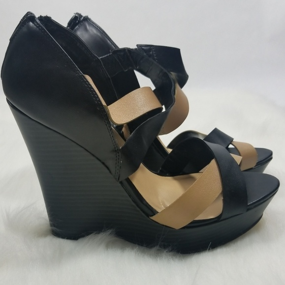 f44cbab837 lumiani Shoes | Wedges Black Tan | Poshmark